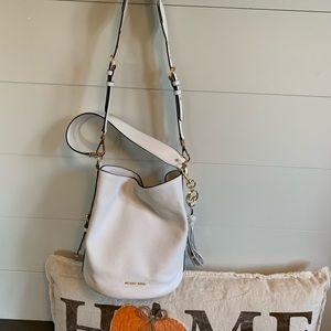 Michael Kors white Brooke bucket bag